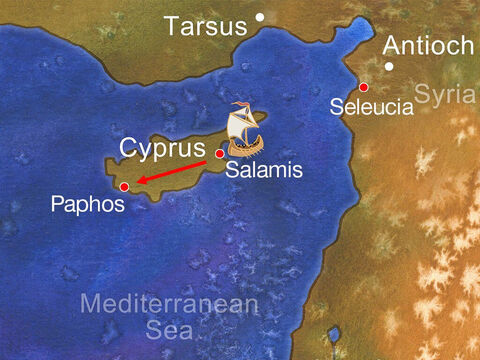 Then they travelled on through the whole island as far as Paphos, telling people about Jesus. – Slide 12