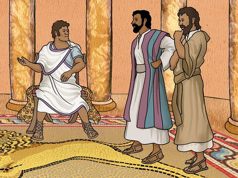 When they arrived at Paphos, they were welcomed by the Roman ruler. He was an intelligent man called Sergius Paulus. Sergius Paulus wanted to hear the good news that Paul and Barnabas were sharing. – Slide 13