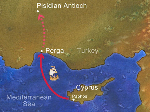 Paul and his companions sailed from Paphos to Perga. However, John left them and returned to Jerusalem. Paul and Barnabas traveled on to Pisidian Antioch, and on the Sabbath day they went into the synagogue and taught. – Slide 18