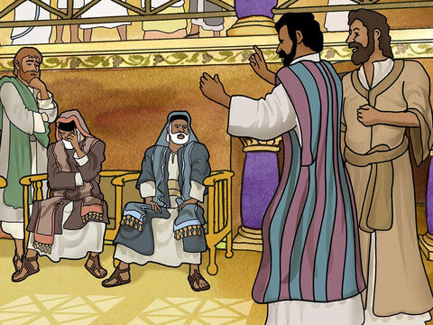 Paul and Barnabas shared the good news of Jesus in the Jewish synagogue. The people begged them to come back on the next Sabbath and tell them more. – Slide 19