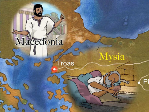 Timothy joined Paul and Silas as they journeyed on to encourage the new churches. God interrupted Paul's plans one night as he slept. Paul dreamed he saw a man of Macedonia asking him to come and preach the gospel to them. – Slide 3