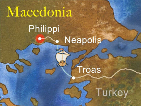 Paul knew it was God's will that they went to Macedonia, so they immediately travelled by sea and land in that direction. Paul, Silas and Timothy arrived in the leading Roman city in Macedonia called Philippi. – Slide 4