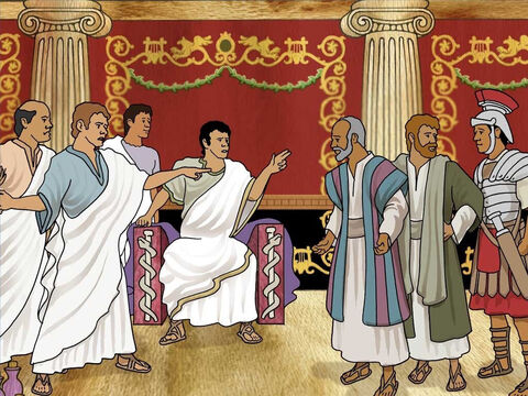 The owners dragged Paul and Silas into the marketplace to be judged by the authorities. Many people were angry and joined up with the slave owners. So the judge ordered Paul and Silas to be beaten and locked up in prison. – Slide 10