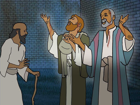 Everything seemed to go wrong. Paul and Silas knew God was in control. Instead of complaining and yelling at the prison guard they sang praises to God. Imagine how strange this seemed to the other prisoners. – Slide 11