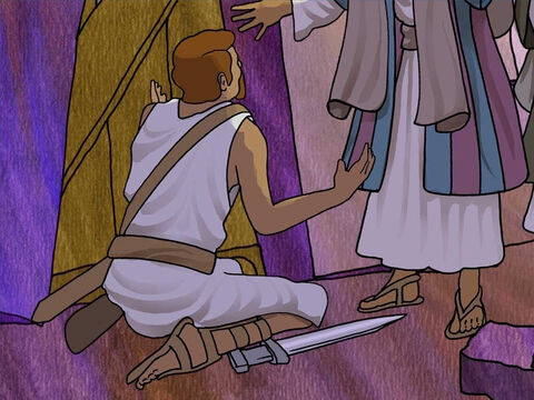 Paul told the guard that no prisoner left or escaped. Desperately the guard asked Paul and Silas, 'What must I do to be saved?' They said, 'Believe in the Lord Jesus, and you will be saved, you and your household.' – Slide 13