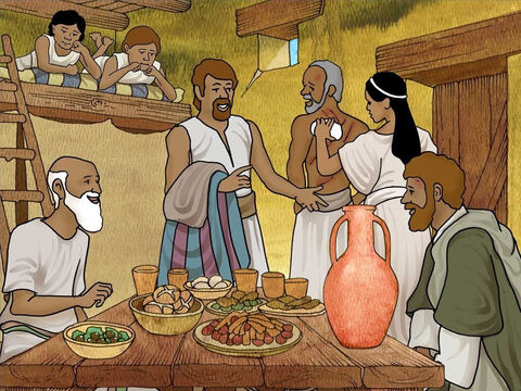 The guard took Paul and Silas to his home. That night the guard's family believed in Jesus. Right away they were all baptised. The family washed Paul and Silas' wounds and fed them a good meal. They all rejoiced and Paul and Silas were freed that same morning. – Slide 14