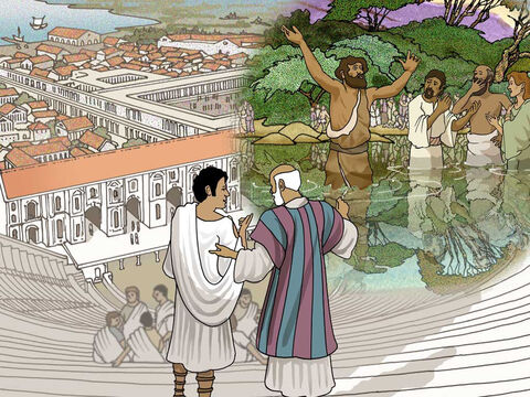 The people Paul met in Ephesus heard about Jesus and they were baptised according to John's baptism of repentance. They had not heard about the baptism in the name of the Lord Jesus and the Holy Spirit. – Slide 3