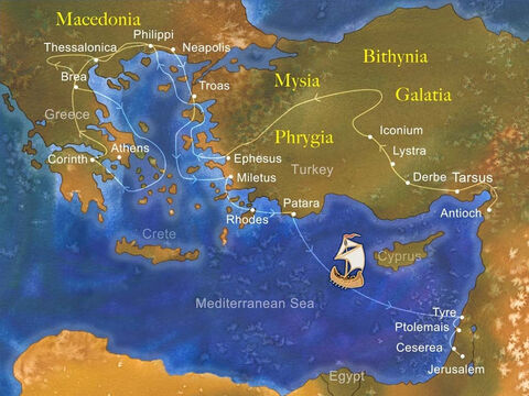 After preaching the Gospel in many areas of Macedonia and present day Greece, Paul sailed back to Israel. Sailing past Cyprus, he made his first stop in Tyre, next was Ptolemais, and then Caesarea. Acts 21:1-7 – Slide 1