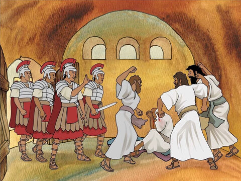 The mob dragged Paul out of the temple grounds and proceeded to try to kill him. This was reported to the Roman cohort. Many in Jerusalem were upset. The soldiers quickly ran to rescue Paul and take him away. Acts 21:30-32 – Slide 5