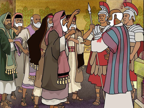According to the Roman officials Paul was to blame for the disturbance in the temple grounds. They allowed Paul to speak to the Jews in defence but this did not help. It only made them yell for Paul to be killed. Acts 22-23 – Slide 6