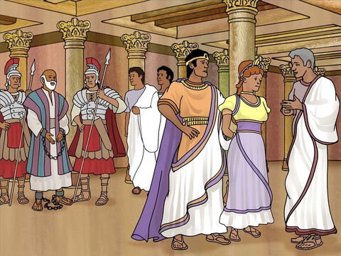 After Paul's defence the king, Bernice and the governor went aside. They agreed that Paul was doing nothing worthy of death, but Paul appealed to Caesar so according to the law he must go to Rome. Acts 26:30-32 – Slide 13