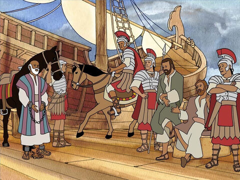 Just as Jesus said, Paul was going to Rome to witness for Jesus just as strongly and boldly as he did in Jerusalem and Caesarea. And during the trip Paul was going to boldly witness to the men on the ship. – Slide 14