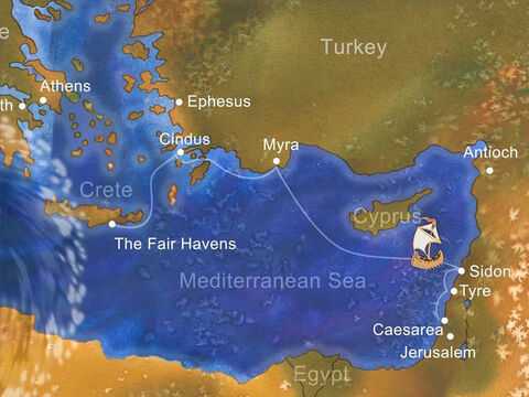 They started in Caesarea and traveled across the Mediterranean Sea toward Rome. Winter, with its storms, was approaching. The ship struggled through winds and poor sailing conditions to slowly get to Fair Havens. – Slide 2