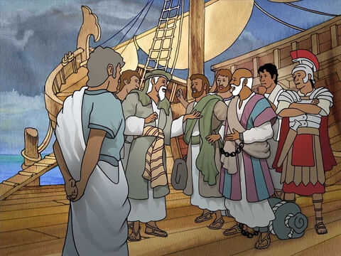 Considerable time had passed and the voyage was now dangerous. Paul urged them to postpone the trip because he feared the ship would be in terrible danger. They refused to listen to Paul and set sail. – Slide 3