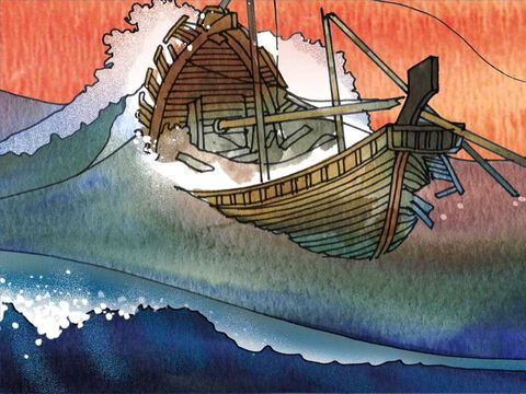 After 14 days of a violent storm they surmised that they were approaching land. The ship struck a reef and was wrecked. The soldiers planned to kill the prisoners, including Paul, but the centurion stopped them. – Slide 7