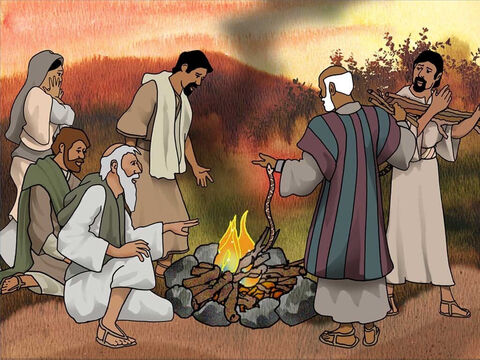 The people of Malta greeted the ship-wrecked crew with a warm fire and food. Paul helped to gather wood for the fire. Suddenly a snake attacked Paul and bit him on his hand, but God prevented its poison from hurting him. – Slide 9