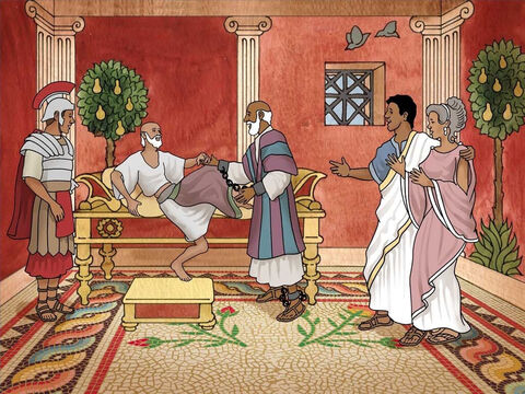 Paul met Publius' dad who was gravely ill. By the power of God Paul healed Publius' dad and all were amazed. Soon many who were sick on the island came to Paul for healing and to hear the gospel. – Slide 11