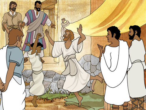 With excitement Paul said in a loud voice 'Stand upright on your feet.' The lame man in faith excitedly leaped up and began to walk. Now everyone who saw this miracle was also excited. Too excited to think properly. – Slide 5
