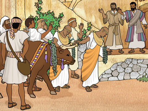 The excited crowds forgot that Paul talked about the Lord Jesus Christ and thought that Paul and Barnabas were gods. Even the priest from the pagan temple brought cattle and garlands to honour them as gods. – Slide 6