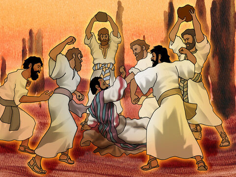 Just as Paul and Barnabas were speaking, Jews from Antioch and Iconium started to mislead the crowds by telling them lies. Now the mob was very angry and they took Paul and stoned him outside the city. – Slide 9