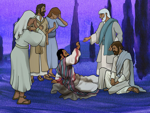 Later the mob left Paul for dead. Some of the people that believed in Jesus went to Paul. When they stood around him, God helped Paul, so he got up and boldly went back into the city. – Slide 10