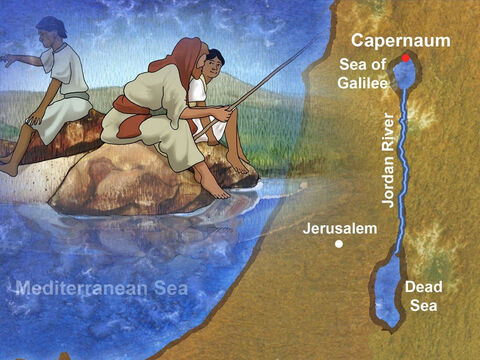 Capernaum was by the Sea Of Galilee. This is where Jesus lived and it became the central place of His ministry. – Slide 1