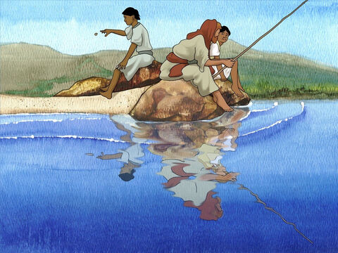 Jesus continued,  'So that we do not offend them, go to the sea and throw in a hook, and take the first fish that comes up. When you open its mouth, you will find a shekel. Take that and give it to them for you and for Me.' – Slide 7