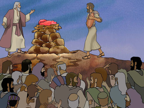 "'And he said, ""Fill four large jars with water and pour it on the burnt offering and on the wood."" And he said, ""Do it a second time,"" so they did it a second time. Then he said, ""Do it a third time,"" so they did it a third time. The water flowed around the altar, and he also filled the trench with water.' 1 Kings 18: 34-35 – Slide 13"