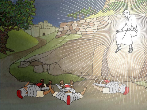 '... A severe earthquake had occurred, for an angel of the Lord descended from heaven and came and rolled away the stone and sat upon it. The angel's appearance was like lightning, and his clothing as white as snow. The guards shook for fear of him and became like dead men.' (Matthew 28:2-4) – Slide 3