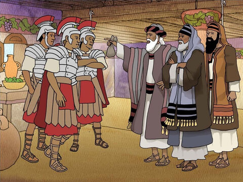 """That morning the guards went to the chief priests and told them all that had happened. After they had assembled they gave the guards a large sum of money and said; 'You are to say, """"His disciples came by night and stole Him away while we were asleep.""""' (Matthew 28:11-14) – Slide 6"""