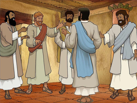 In the evening in a closed room Jesus suddenly appeared to His disciples and blessed them. They were all excited and shared the good news with Thomas who was not there. Thomas said, 'I will not believe unless I see with my own eyes.' (John 20:19-25) – Slide 7