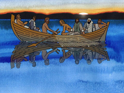 Some of the disciples, including Peter, were experienced fishermen. They went fishing all night and did not catch a single fish. As the morning dawned they disappointedly rowed back to shore. It probably seemed like a big waste of their time. (John 21:3b) – Slide 10