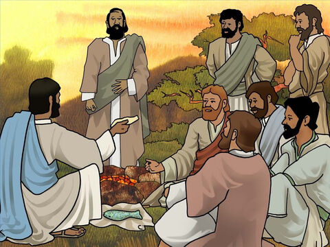 When they all came to land, Jesus told them 'Come and have breakfast.' Jesus had already prepared a charcoal fire with fish laid on it and bread. Jesus also encouraged them to add their catch of fish to the meal. (John 21:9-14) – Slide 14