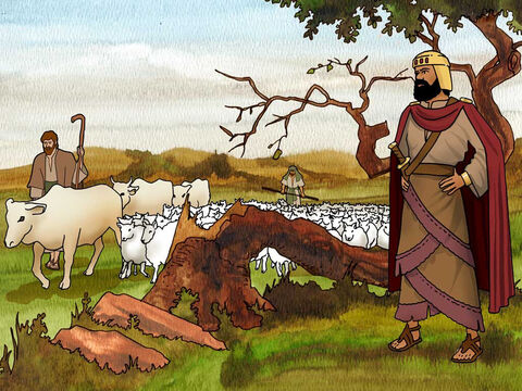 In the battle Saul did not follow the instructions of God that Samuel told him. 'Now go and strike Amalek and utterly destroy all that he has, and do not spare him; but put to death both man and woman, child and infant, ox and sheep, camel and donkey.' 1 Samuel 15:3 (NASB) – Slide 15