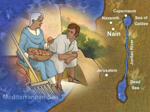 Jesus and His disciples traveled south to a village called Nain. In Hebrew, Nain means 'green pastures', 'lovely'. Nain was 25 (40km) miles southwest of Capernaum. A young man and his widowed mother lived there. – Slide 1