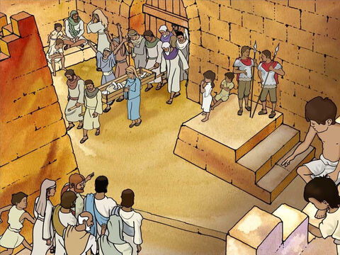 As Jesus approaches the city gate, the widow mourning for her dead son was leaving the city. Her son was being carried out of the city for burial. Along with the funeral procession a large crowd was paying their respects. – Slide 5