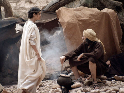 That evening Mary and Joseph set up camp and rested. – Slide 4