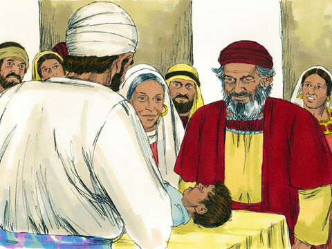 Elizabeth's gave birth to a son. After 8 days the family came for the circumcision ceremony. They wanted to name him Zechariah, after his father. But Elizabeth said, 'No! His name is John!' 'What?' they exclaimed. 'There is no one in your family by that name.'  – Slide 8