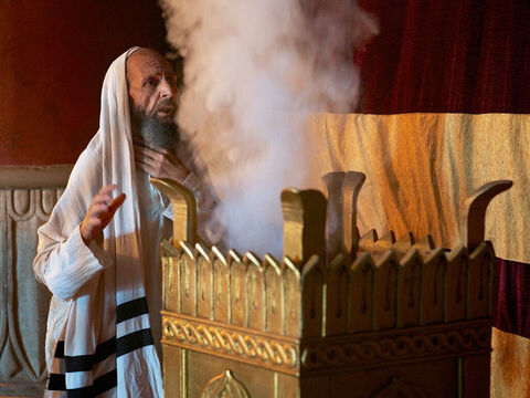 He burnt incense on the altar. The smoke rising was a picture of the prayers of God's people rising up to Him. Suddenly an angel of the Lord appeared, standing on the right side of the altar. – Slide 7