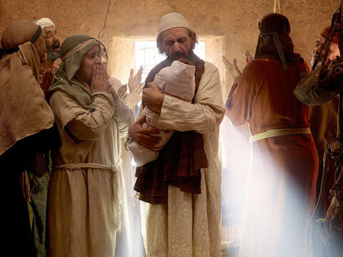When the baby was born, just at the angel had promised, it was a boy. News of the birth spread quickly to her neighbours and relatives of how kind the Lord had been to Elizabeth. Everyone rejoiced. – Slide 16